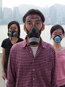 Picture of people wearing gas masks in Hong Kong